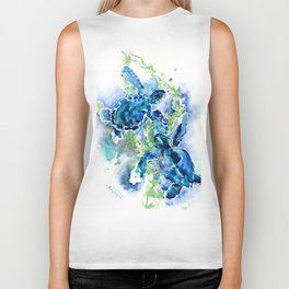 Sea Turtle Turquoise Blue Beach Underwater Scene Green Blue design Biker Tank