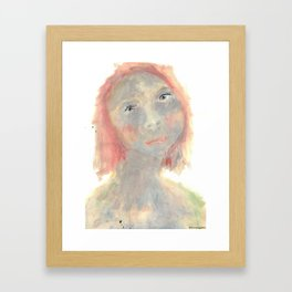 A painted portrait of a thoughtful green girl Framed Art Print