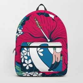 Flamingos and tropical flowers and leaves Backpack