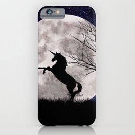 unicorn in the moonlight iPhone Case