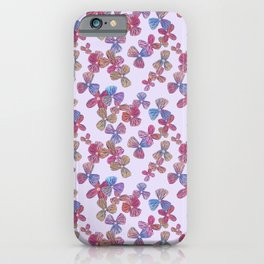 Pretty Lined Floral Pattern, Pale Pink iPhone Case