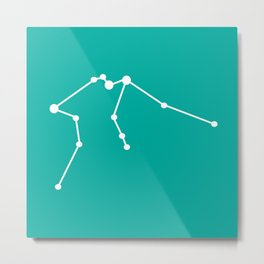 Aquarius (White & Turquoise) Metal Print