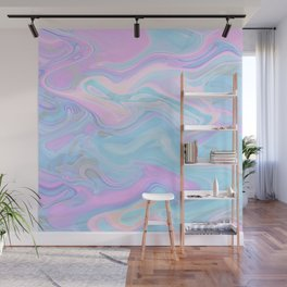 Sea Marble Candy Pattern - Violet, Aqua and Blue Wall Mural