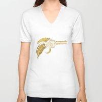banana V-neck T-shirts featuring Banana Gun by Enkel Dika