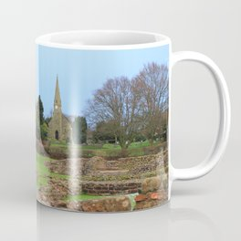 English Village Church overlooking Roman Excavations Coffee Mug