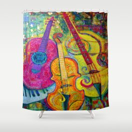 ROSE GUITAR & MUSIC INSTRUMENTS PAINTING Shower Curtain