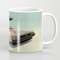 delorean Mugs featuring Number 3 - DeLorean by Vin Zzep