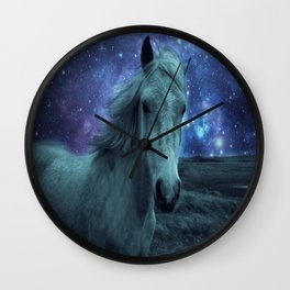 Fairy tale Horse Dark Blue Galaxy Skies Wall Clock