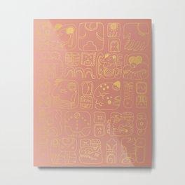Mayan glyphs - rosegold palette Metal Print