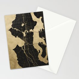 Seattle Black and Gold Map Stationery Cards