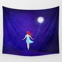 redhead Wall Tapestries featuring redhead by Nancy Woland
