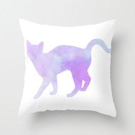 Watercolour silhouette standing cat - purple / blue Throw Pillow