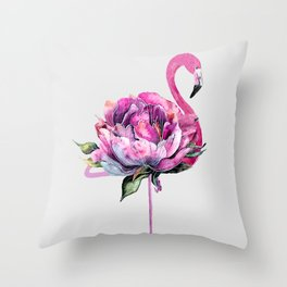 Flower Flamingo Throw Pillow