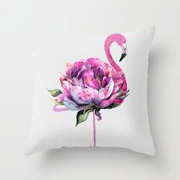 Flower Flamingo Throw Pillow