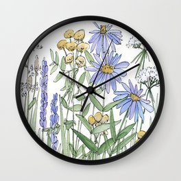 Asters and Wild Flowers Botanical Nature Floral Wall Clock