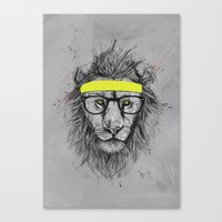 hipster Canvas Prints featuring hipster lion by Balazs Solti