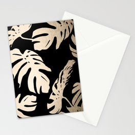 Simply Palm Leaves in White Gold Sands on Midnight Black Stationery Cards