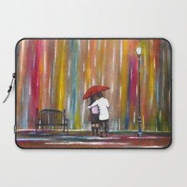 Love in the Rain romantic painting by Manjiri Kanvinde Laptop Sleeve