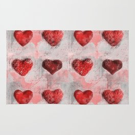 Heart Love Red Mixed Media Pattern Gift Rug