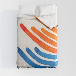 Orange Blue Complementary Colors Watercolor Stripe Pattern Minimalist Simple Mid Century Modern Art Comforters