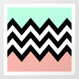 DOUBLE COLORBLOCK CHEVRON {MINT/CORAL/BLACK} Art Print