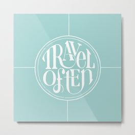 Travel with Teal Metal Print