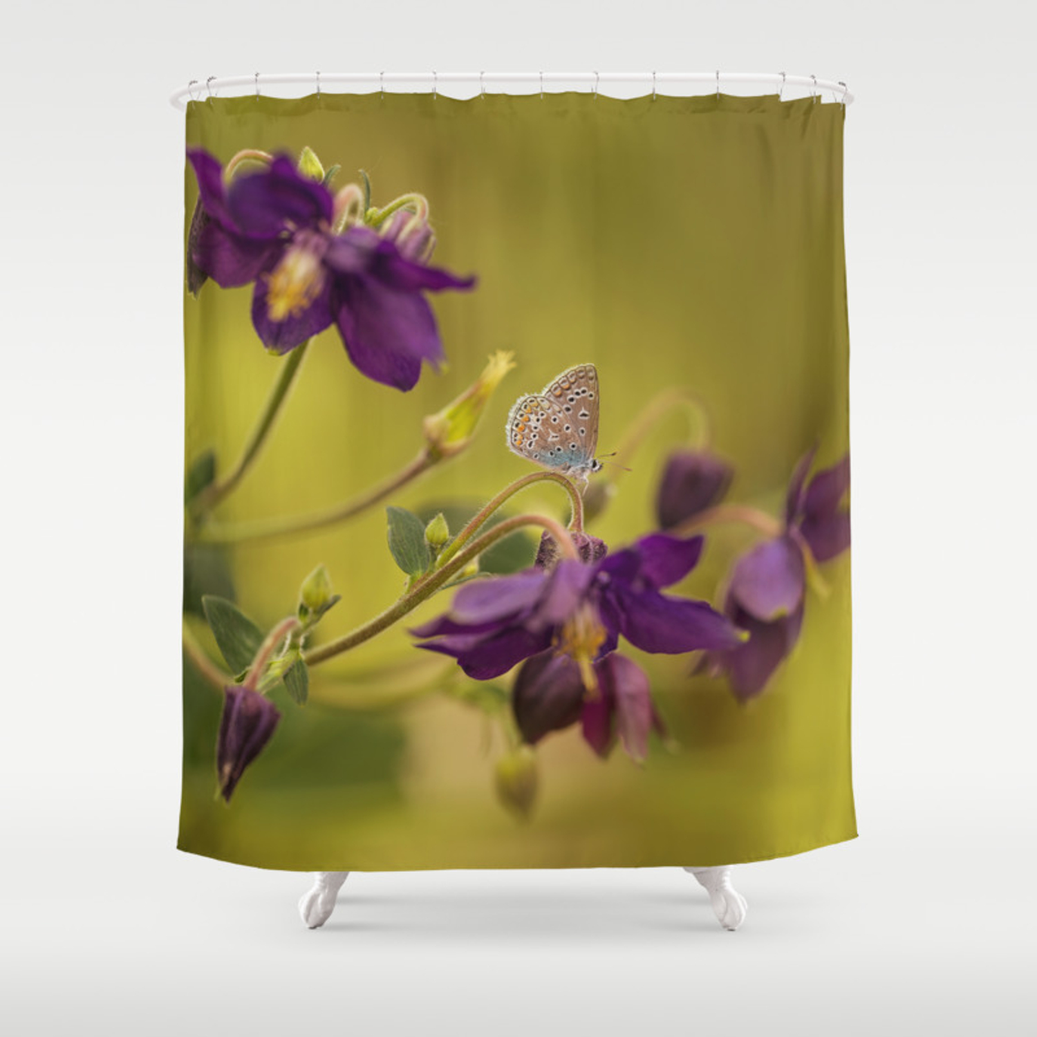 Purple Columbine Flowers With Small Butterfly Shower Curtain By