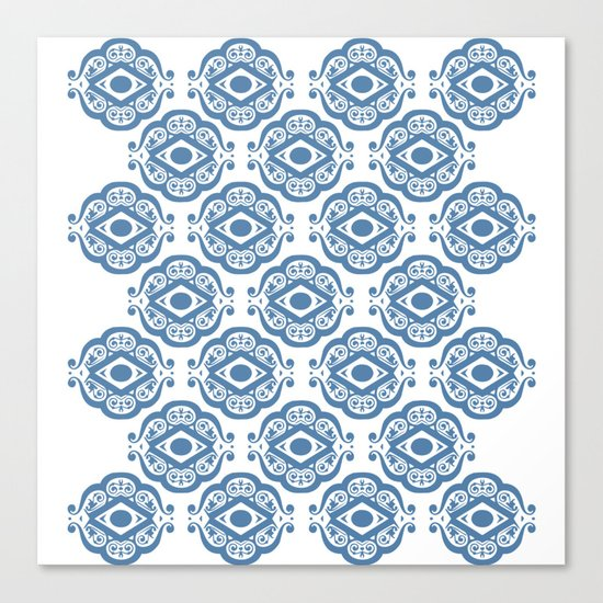 Blue White Ornate Shapes Pattern Canvas Print