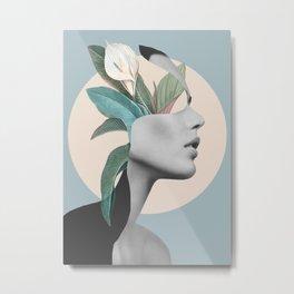 Floral Portrait /collage Metal Print