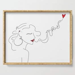 Minimal Line Art Woman With Red Heart and Quote Serving Tray