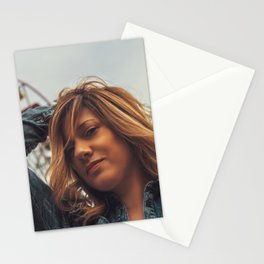 Lovely young woman in a Luna Park shortly before sunset in autumn Stationery Cards