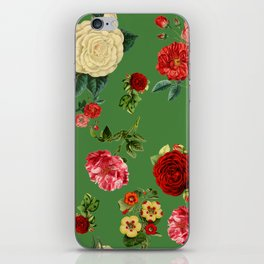Green vintage roses iPhone Skin