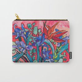 Persephone Painting - Bouquet of Iris and Strelitzia Flowers in Greek Horse Vase Against Coral Pink Carry-All Pouch