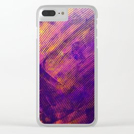 Purple and Orange Stripes Clear iPhone Case