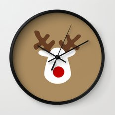 Christmas Reindeer-Brown Wall Clock