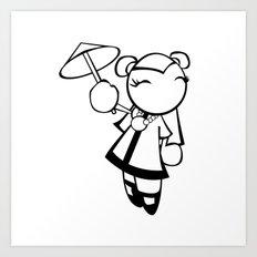 Kawaii Doll Umbrella Art Print