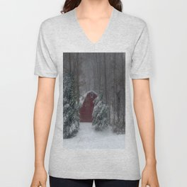 Red Barn in a Snow Storm Unisex V-Neck