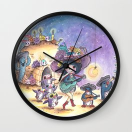 PenguinGirl and her Music Maker Penguins Celebrate Day of the Dead Wall Clock
