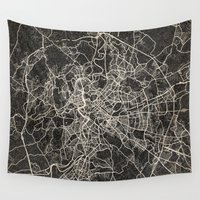 rome Wall Tapestries featuring Rome map by Les petites illustrations