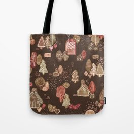 Hansel and Gretel Fairy Tale Gingerbread Pattern on Brown Tote Bag