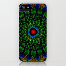 Neon cycle mandala iPhone Case