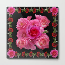 RED & PINK ROSES BLACK VIGNETTE ART  PATTERN Metal Print