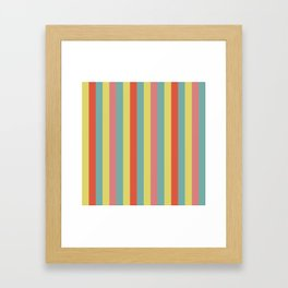 Vertical tropical paradise stripes sunny turquoise lines Framed Art Print