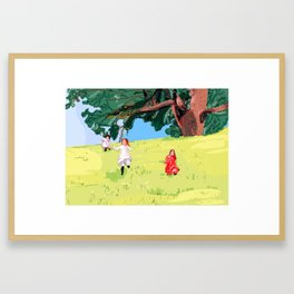 The little house on the prairie with Ingalls sisters Framed Art Print