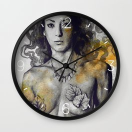Colony Collapse Disorder: Gold (nude warrior woman with autumn leaves) Wall Clock