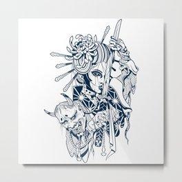 Blue and White Dark Tengu Woman Metal Print