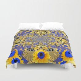 MODERN BLUE FLORALS MONARCH BUTTERFLY ART Duvet Cover