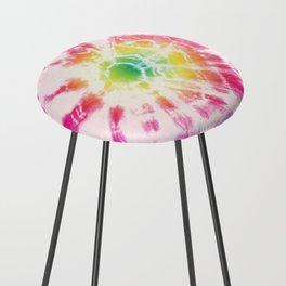 Tie-Dye Sunburst Rainbow Counter Stool