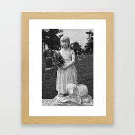 Girl Statue Black & White Framed Art Print