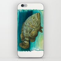 biology iPhone & iPod Skins featuring Goliath Grouper ~ Watercolor by Amber Marine